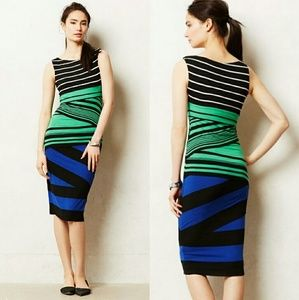 Anthropologie Piped Striped Column Bailey 44 Dress